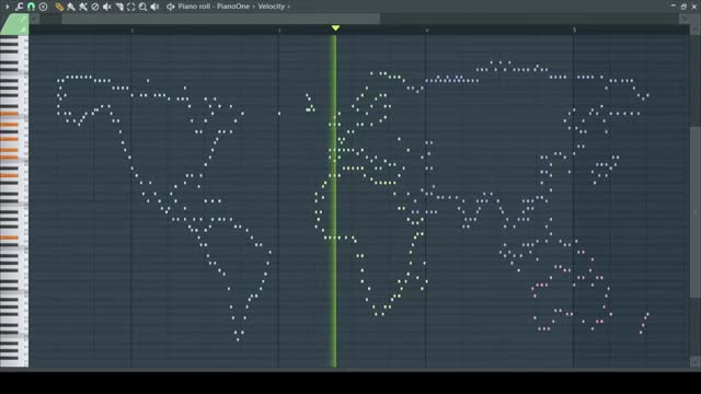 The outline of the world played on piano (earrape). .