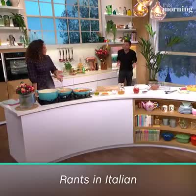 """Italian chef isn't happy. .. """"Disgusting, disgusting. So you take a recipe my grandmother made 30 years ago and you put sour cream on it. This is what is wrong with this country"""""""